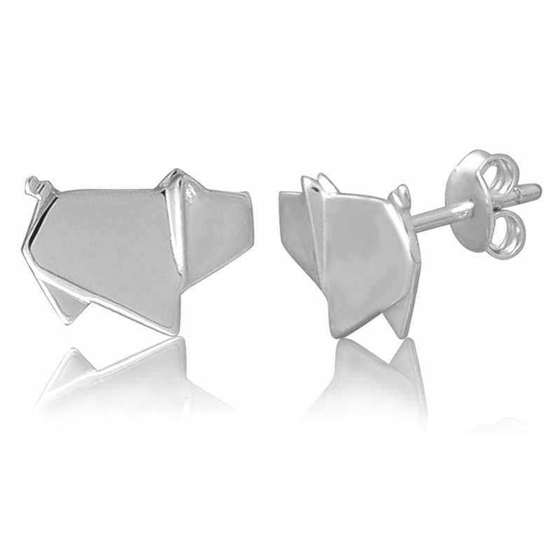 Pig Origami Rhodium Enhanced Sterling Silver Stud Earrings