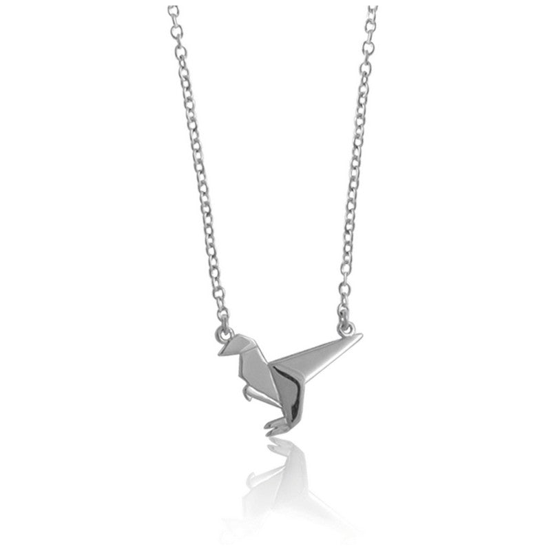 Raptor Origami Rhodium Enhanced Sterling Silver Necklace 40-45cm
