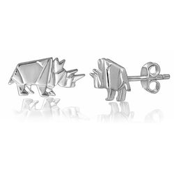 Rhino Origami Rhodium Enhanced Sterling Silver Stud Earrings