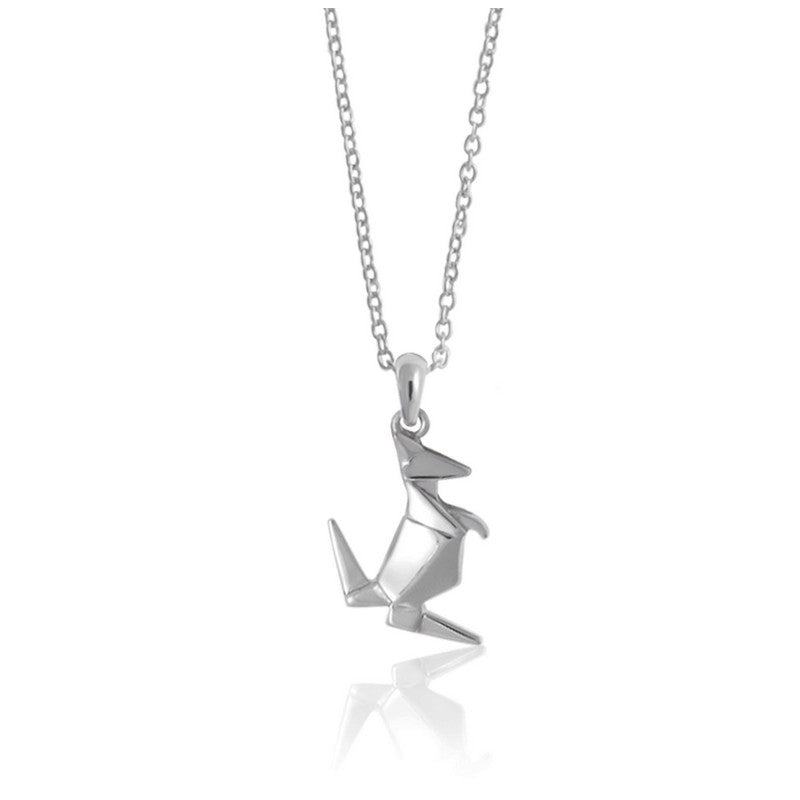 Kangaroo Origami Rhodium Enhanced Sterling Silver Necklace 40-45cm