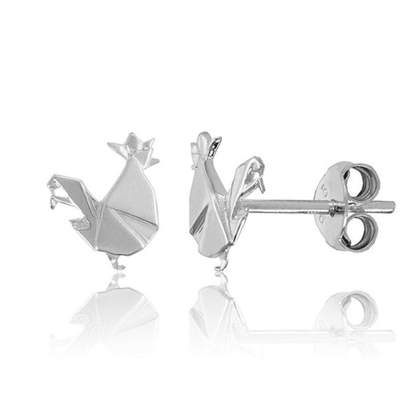 Rooster Origami Rhodium Enhanced Sterling Silver Stud Earrings