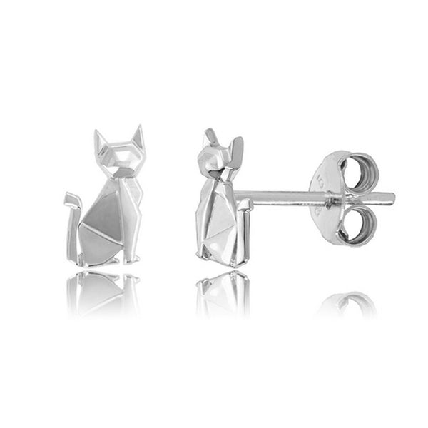 Siamese Cat Origami Rhodium Enhanced Sterling Silver Stud Earrings