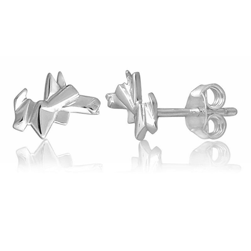Scotty Dog Origami Rhodium Enhanced Sterling Silver Stud Earrings
