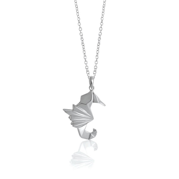 Seahorse Origami Rhodium Enhanced Sterling Silver Necklace 70-80cm