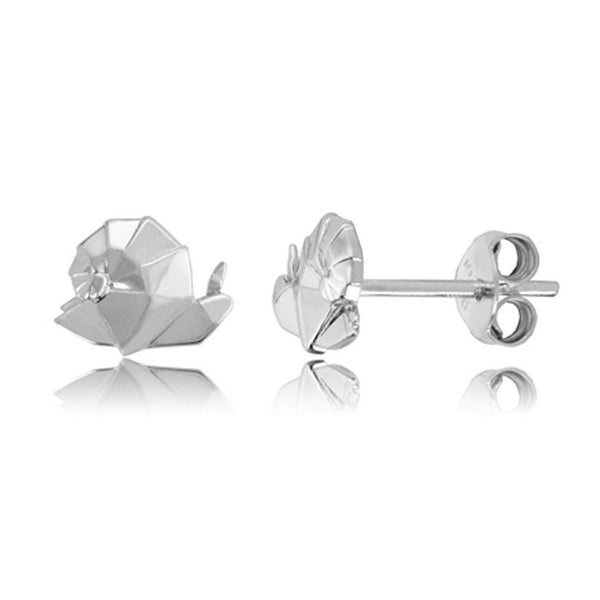 Snail Origami Rhodium Enhanced Sterling Silver Stud Earrings