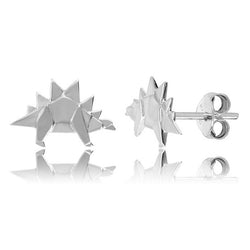 Stegosaurus Origami Rhodium Enhanced Sterling Silver Stud Earrings