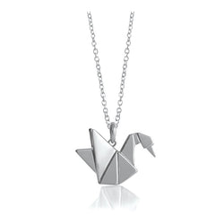 Swan Origami Rhodium Enhanced Sterling Silver Necklace 70-80cm