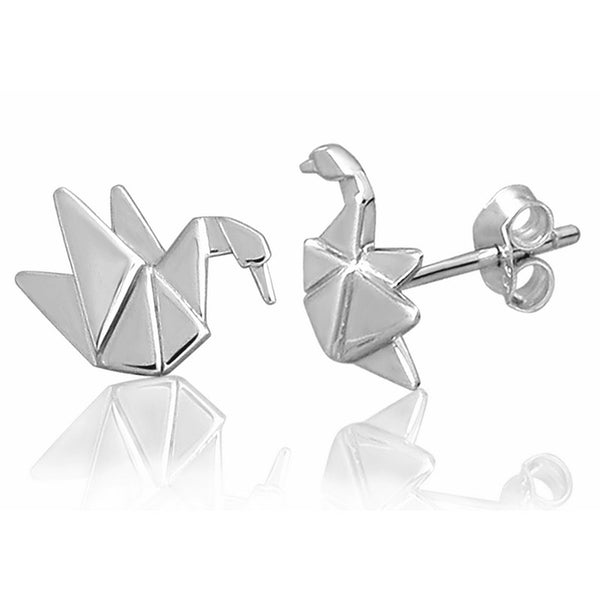 Swan Origami Rhodium Enhanced Sterling Silver Stud Earrings