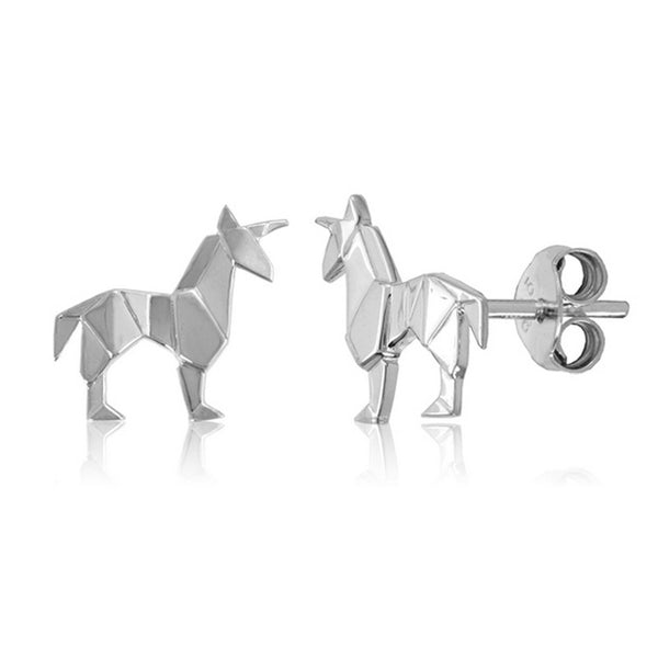 Unicorn Origami Rhodium Enhanced Sterling Silver Stud Earrings
