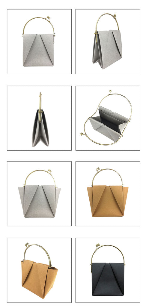 Heshou Designer Kraftpaper Handbag from different angels