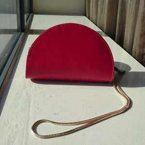 CHOU Half Moon Handmade Bag Italian Vegetable Tanned Leather event purse