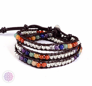 Multiwrap 7 Chakra Leather Bracelet