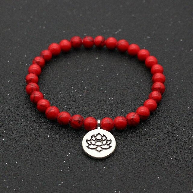 Red Howlite Lotus Bracelet (Short Mala)
