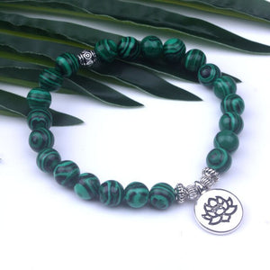 Malachite Lotus Bracelet (Short Mala)