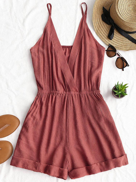 Spaghetti Strap V-neck Sexy Pure Color Short Jumpsuits