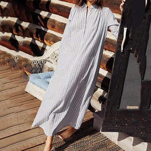Leisure Loose Retro Collar Sexy Long-Sleeved Shirt Dress