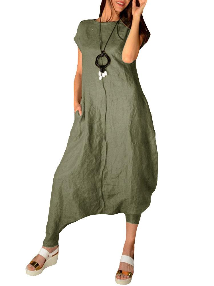 Solid Color Loose Overall Short Sleeve Harem Jumpsuit