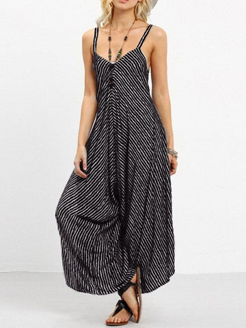 Stripe Spaghetti Strap Sexy Backless Wide Leg Jumpsuit