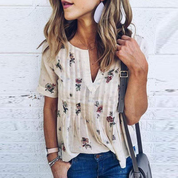 Women Bohemian Short Sleeve V Neck Floral Print T Shirt Tops Blouse Tee