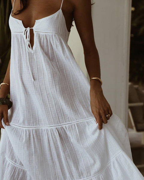 Sexy V Neck Lace Sleeveless Off-Shoulder Belted Dress