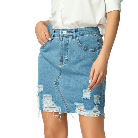 Half-length skirt Women's Jeans Skirt Broken in Spring and Summer Half-length Jeans Skirt Slim