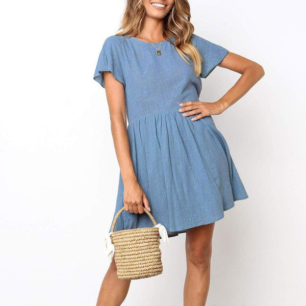 Casual Round Collar Plain Loose Shift Mini Dress
