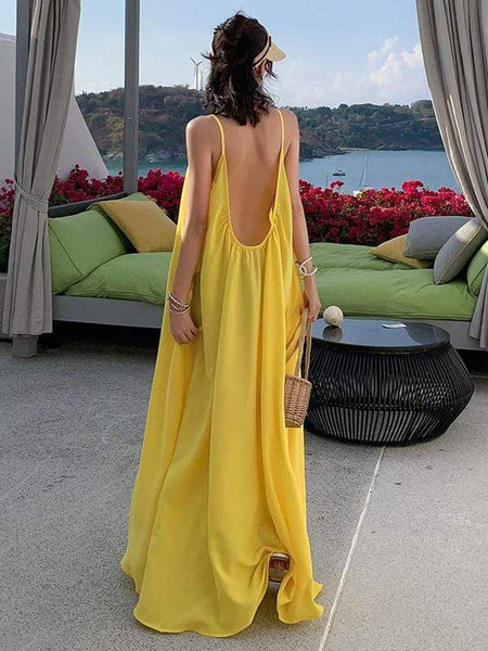 Yellow Relaxing Holiday Halter Dress