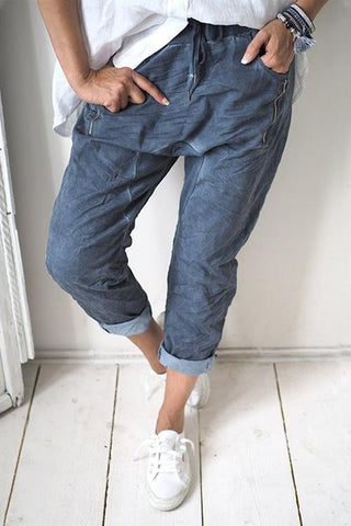 Zipper Drawstring Denim Pants