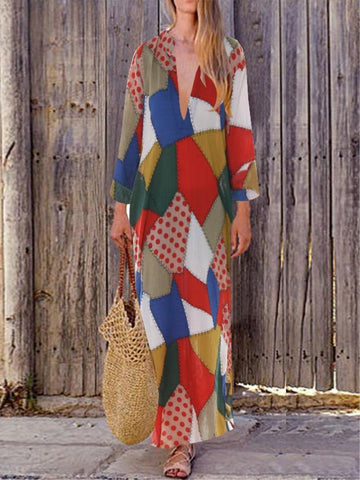 Casual Geometric Printed V-neck Long Sleeve Maxi Dress
