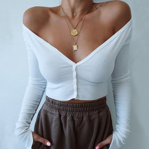 The Solid Color Deep V neck Sexy Knitted Tops