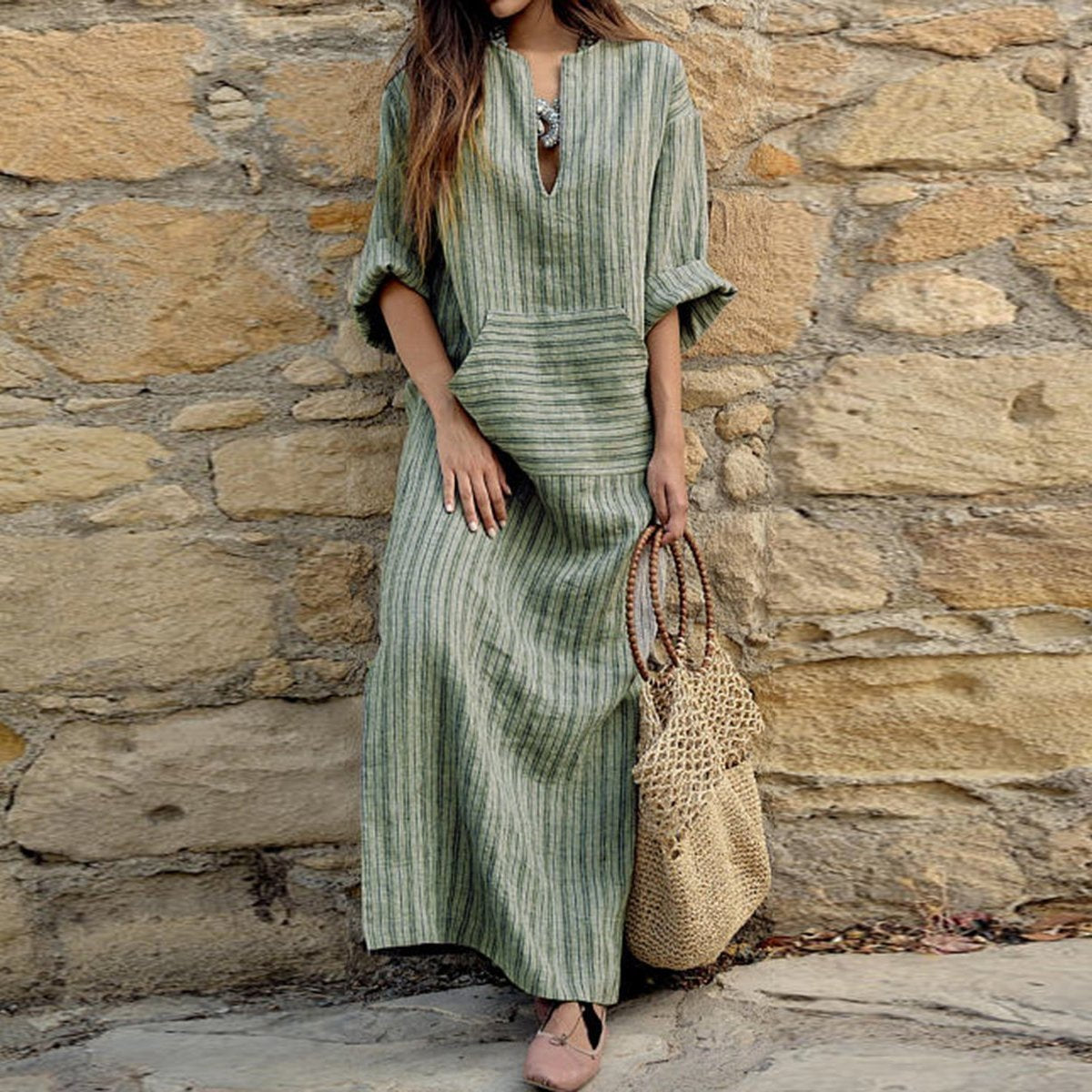 Split Neck  Patch Pocket  Printed Maxi Dress