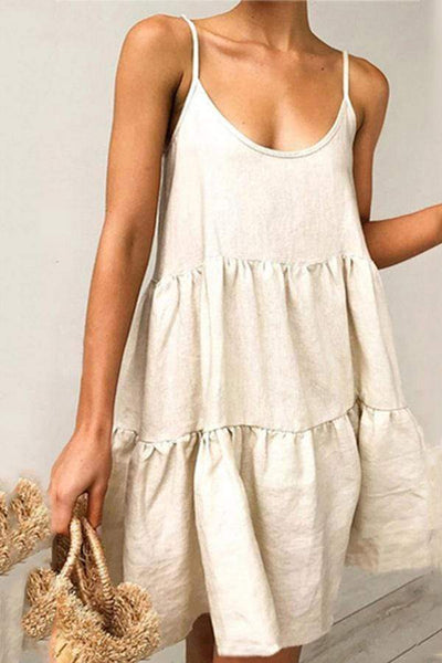 Summer Spaghetti Strap A-Line Ruffle Casual Mini Dress