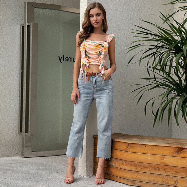 2020 New Women's Wear Printing StrapStrap Printing Folded Women's Top