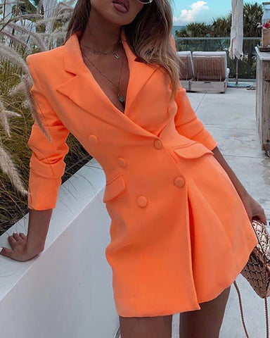 Solid Notched Collar Long Sleeve Double-breasted Blazer Dress