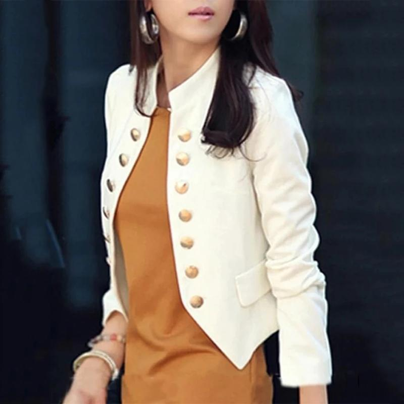 Ladylike Double Breasted Band Collar Blended Plain Blazer Jacket