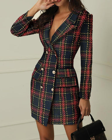 Striped Grid Double Breasted Blazer Dress