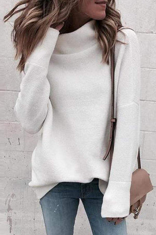 Turtleneck Long Sleeve Plain Knitting Sweaters