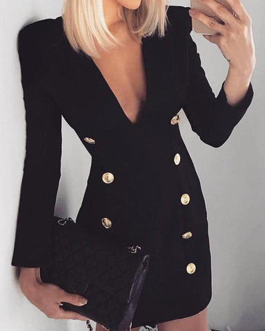Double-Breasted Long Sleeve Blazer Dress