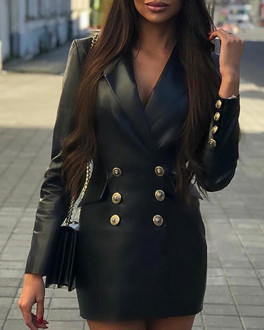 Solid PU Double Breasted Blazer Dress