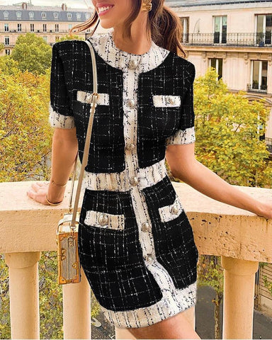 Colorblock Frayed Fringed Plaid Buttoned Blazer Dress