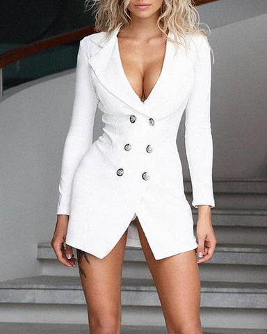 Shawl Collar Button Blazer Dress