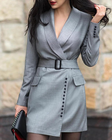 Notched Collar Popper Cuff Blazer Dress