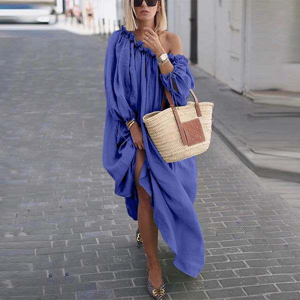 Classy Off-Shoulder Pure Colour Long Sleeve Casual Dress