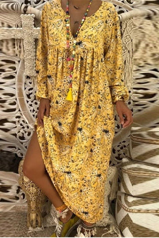 V Collar Floral Printed Loose Vacation Dress