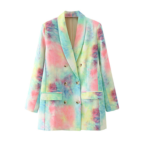 2020 Autumn Stylish Corduroy Tie-dye Blazer Coat Long Sleeve Pockets Female Blazers Jacket
