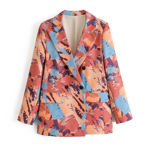 2020 Autumn Stylish Print Blazer Coat Double Breasted Long Sleeve Pockets Jacket