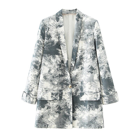 Tie-dye Blazer Coat Single Button Long Sleeve Pockets Female Blazers Jacket Outerwear
