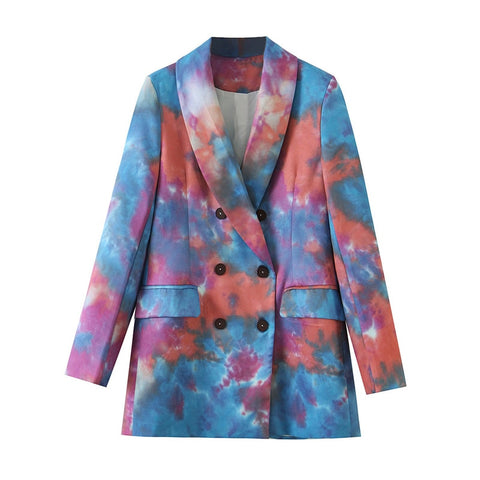 Autumn Double Breasted Tie-dye Blazers Coat Long Sleeve Pockets Chic Tops