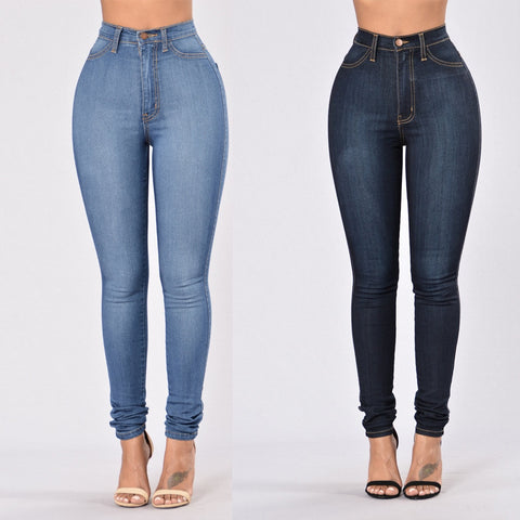 Woman High Waist Jeans High Elastic Hips Skinny Jeans