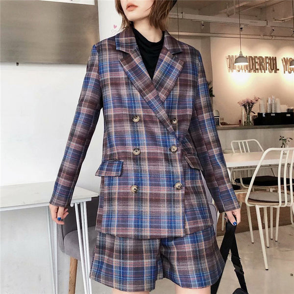 2020 Stylish Casual Plaid Suit Blazer Women Double Breasted Long Sleeve Pockets Blazers